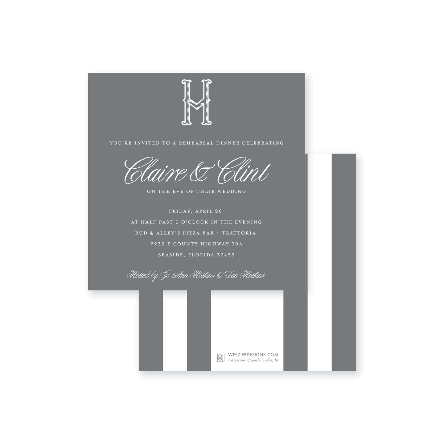 Weezie B. Designs | Elegant & Modern Rehearsal Dinner Invitation