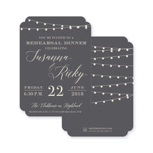 Load image into Gallery viewer, String Light Soiree Rehearsal Dinner Invitation