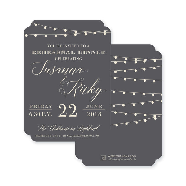 String Light Soiree Rehearsal Dinner Invitation