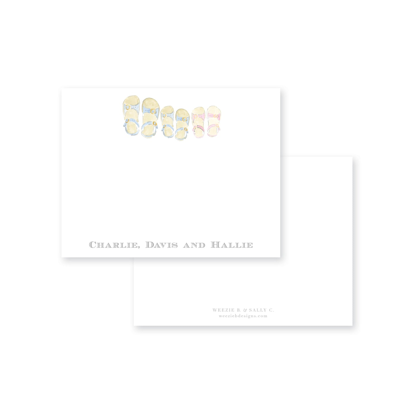 Summer Sandals Siblings Flat Note Card