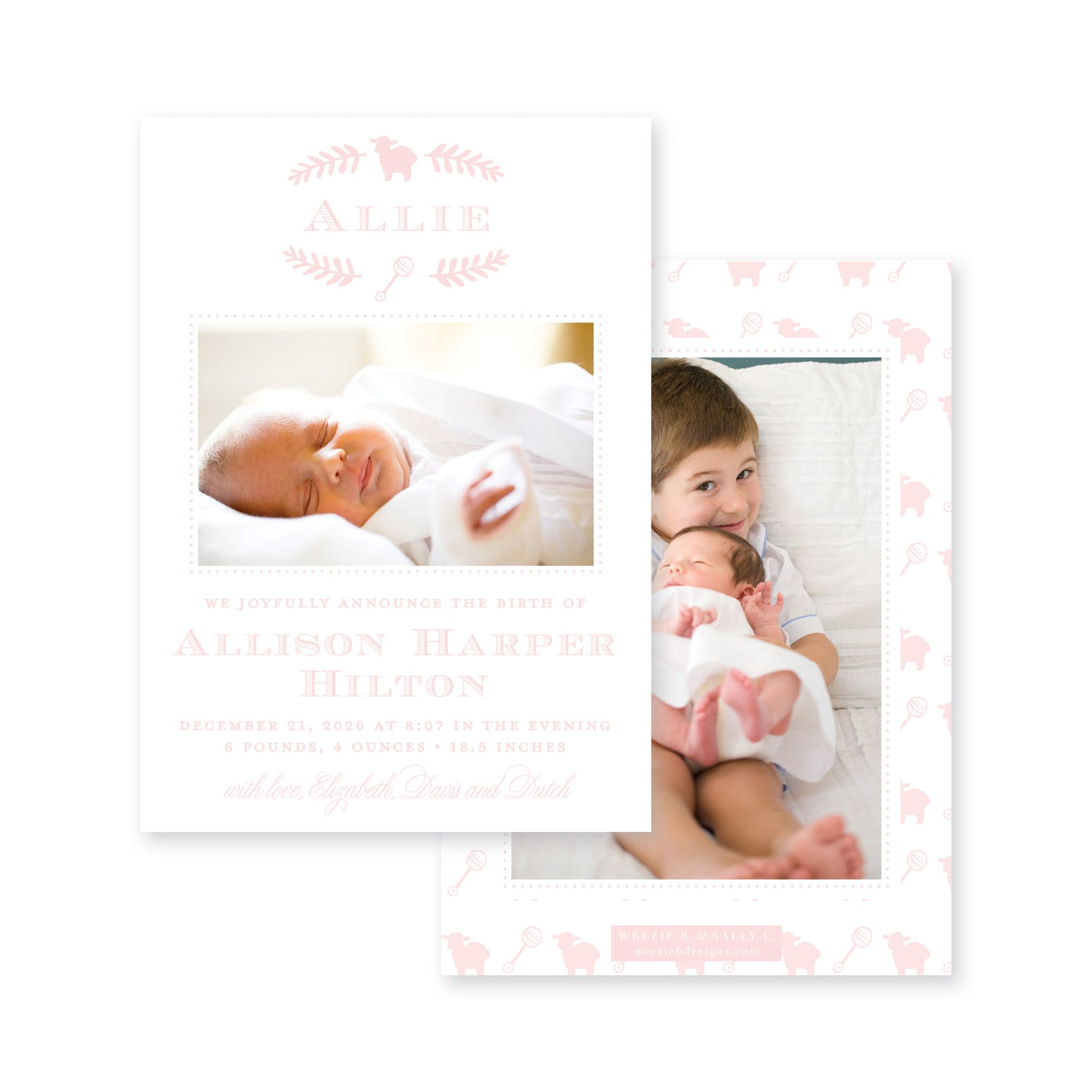 Weezie B. Designs | Sweet Icons Birth Announcement