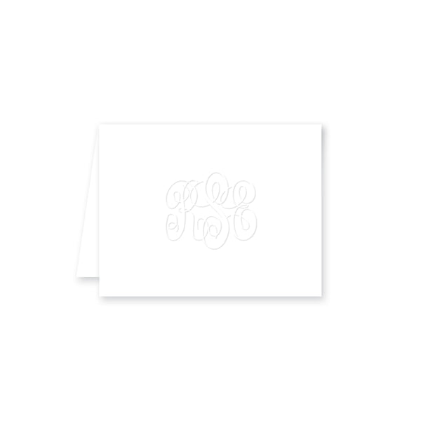 Embossed Three Letter Intertwined Monogram Folded