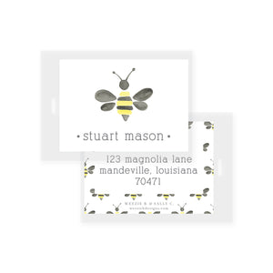 Watercolor Bumble Bee Bag Tag