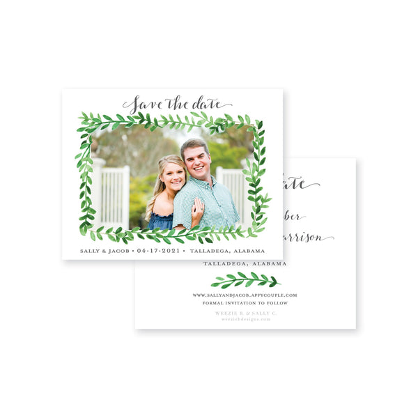 Weezie B. Designs | Watercolor Greenery with Photo Save-the-Date