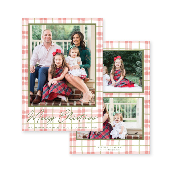 Watercolor Plaid Christmas Card