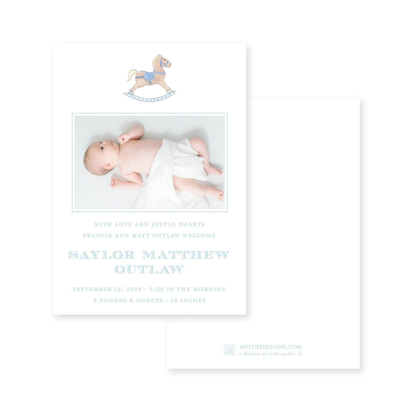 Watercolor Rocking Horse Birth Announcement