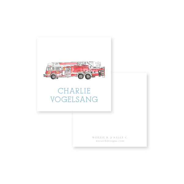Fire Truck Watercolor Calling Card