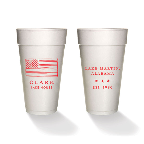 American Flag Sketched Styrofoam Cups