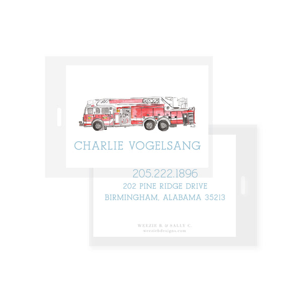 Fire Truck Watercolor Bag Tag