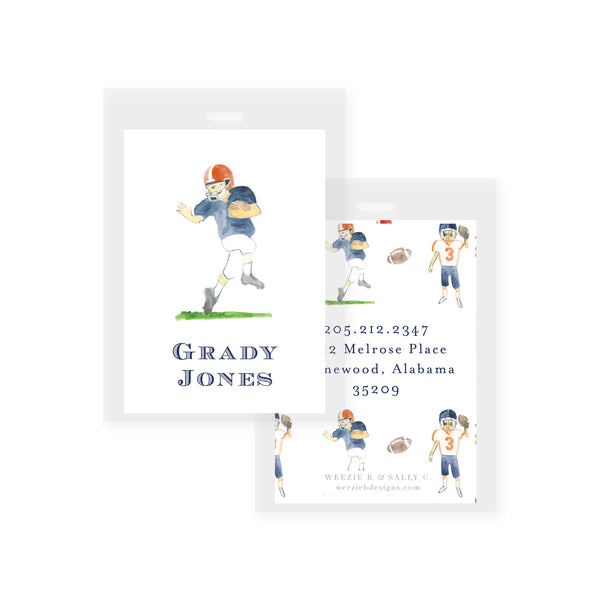 Football Players Watercolor Bag Tag