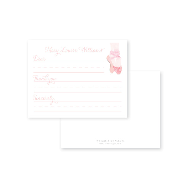 Weezie B. Designs | Ballet Watercolor Fill-in Flat Note Card