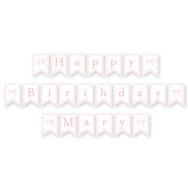 Sweet Watercolor Bow Birthday Banner