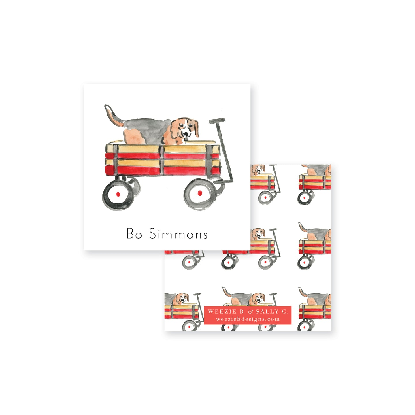 Beagle Wagon Ride Calling Card
