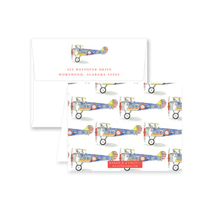 Biplane Watercolor Folded Note Card