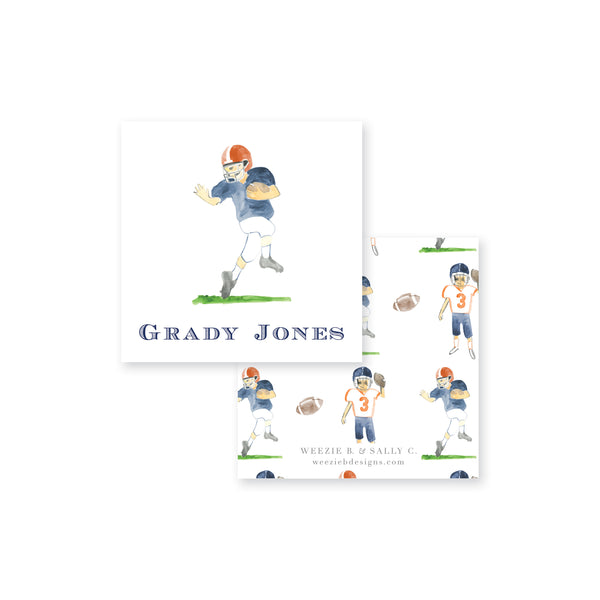 Football Players Watercolor Calling Card