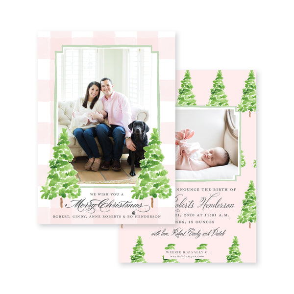 Watercolor Gingham with Evergreen Trees Birth Announcement Christmas Card