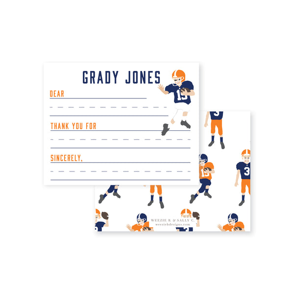 Football Players Fill-In Flat Note Card