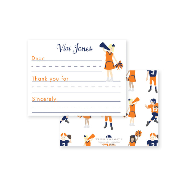 Football Cheer Fill-In Flat Note Card