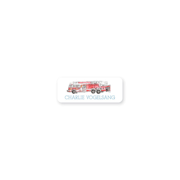 Fire Truck Watercolor Permanent Stickers