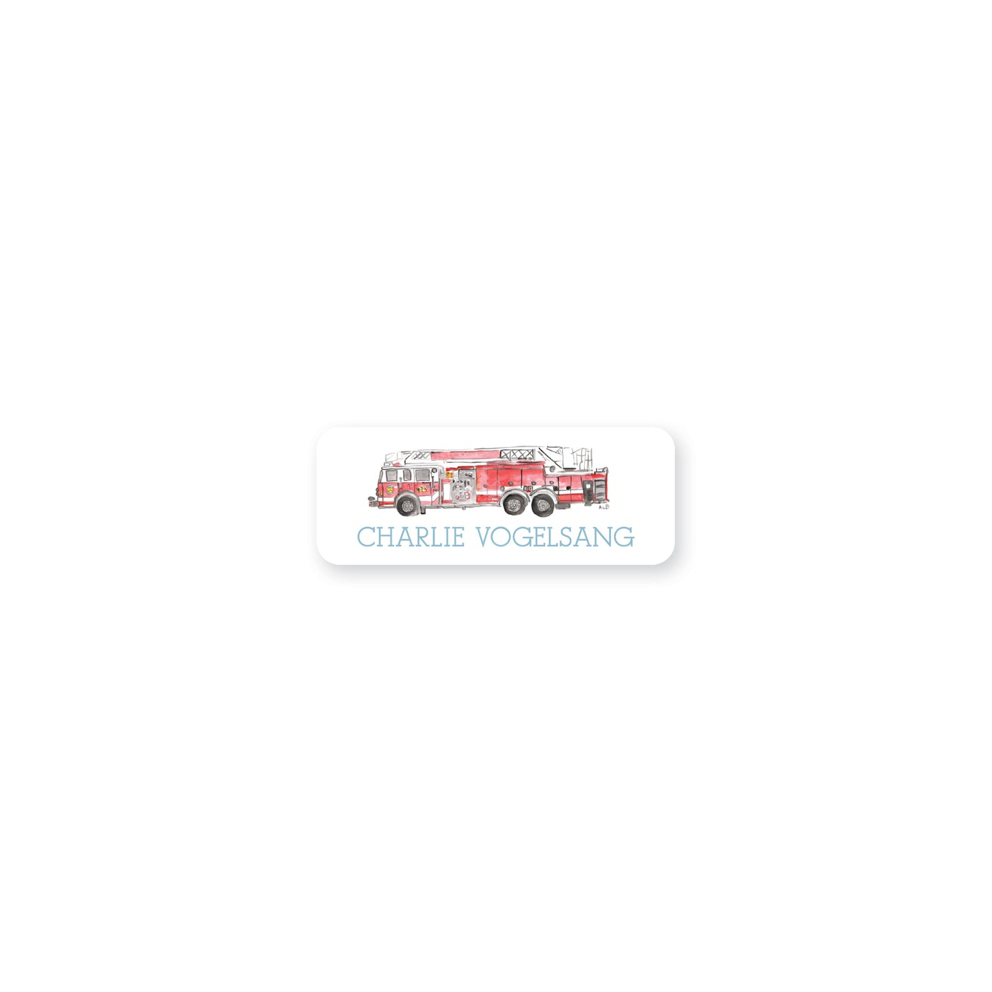Fire Truck Watercolor Permanent Sticker