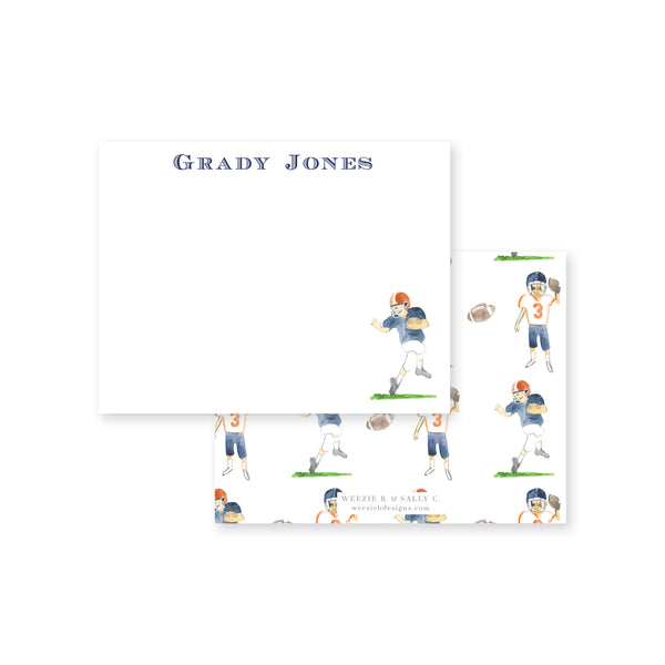 Football Players Watercolor Flat Note Card