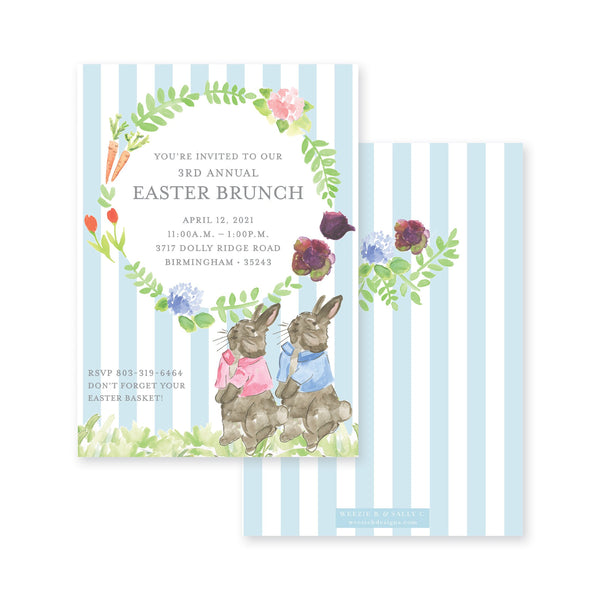 Weezie B. Designs | Garden Bunny Easter Invitation