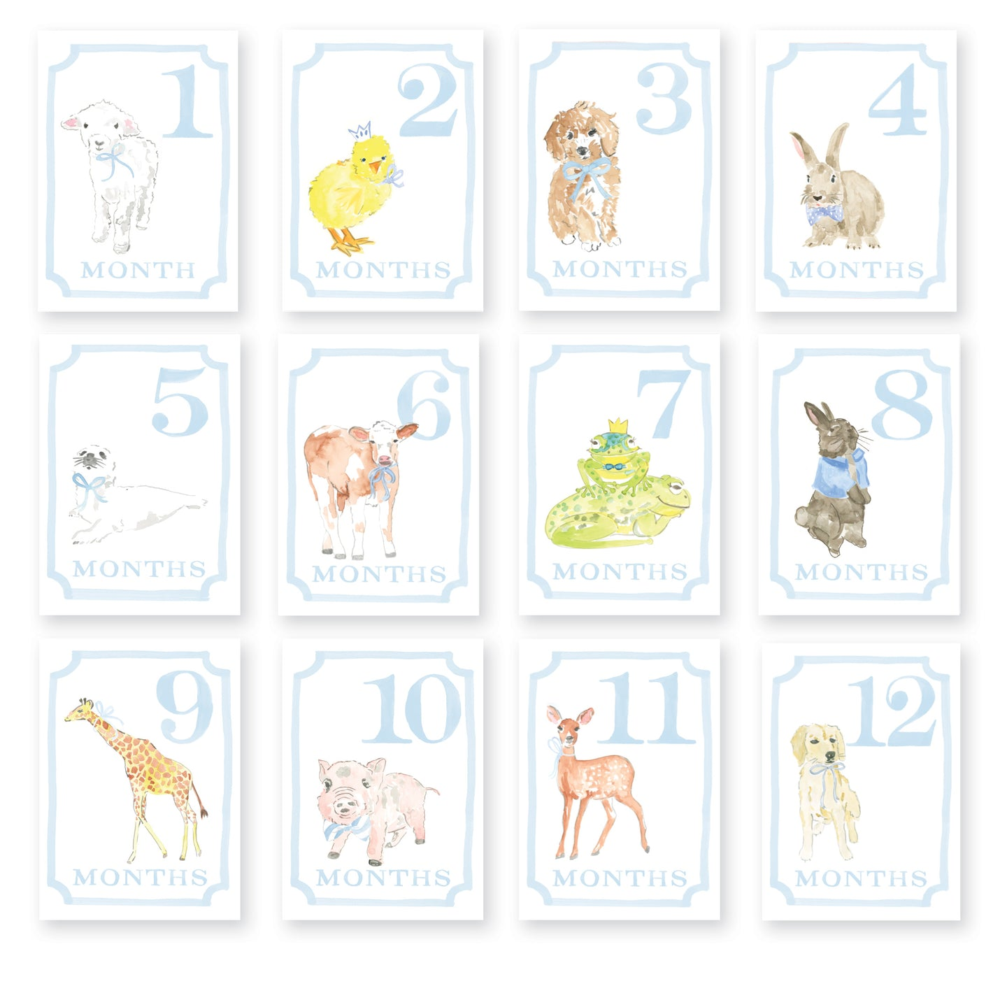 Sweet Animals Milestone Cards