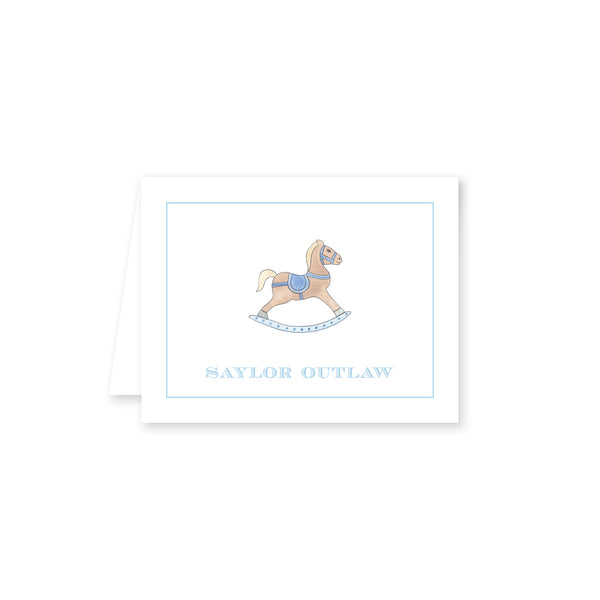 Watercolor Rocking Horse Folded Note Card