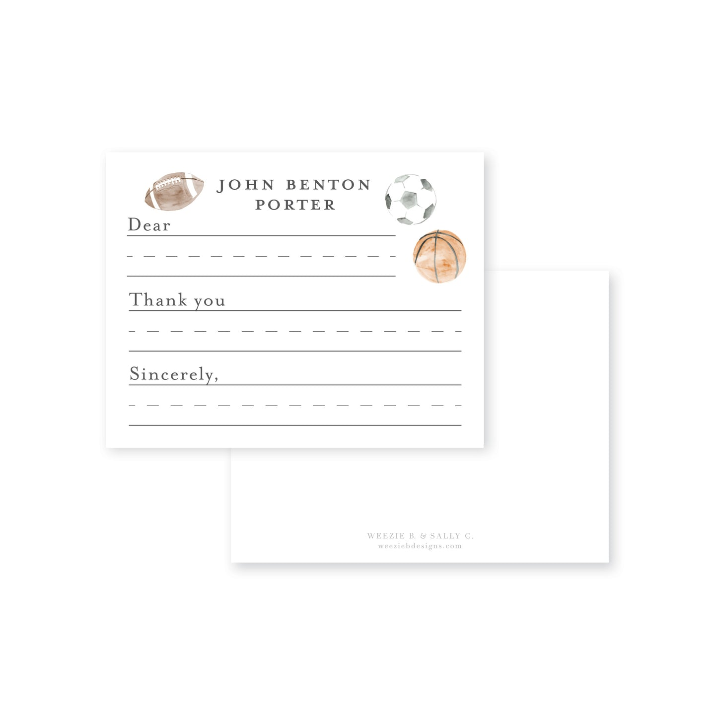 Weezie B. Designs | Sports Balls Fill-In Flat Note Cards