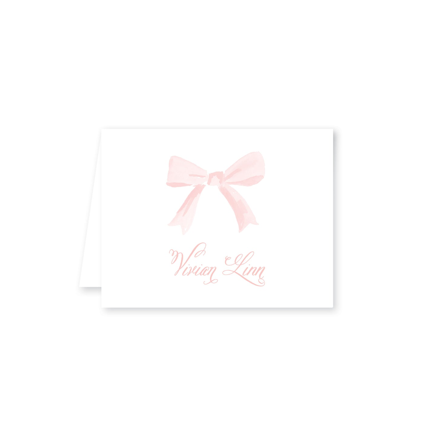 Bows In Watercolor Folded Note Card