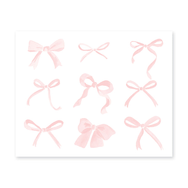 Sweet Watercolor Bows Art Print