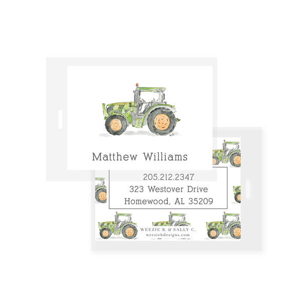Tractor Watercolor Bag Tag