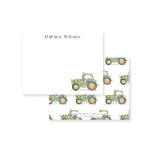 Tractor Watercolor Flat Note Card