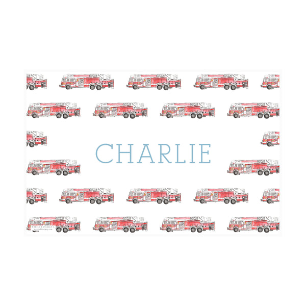 Firetruck Watercolor - Stripes Placemat