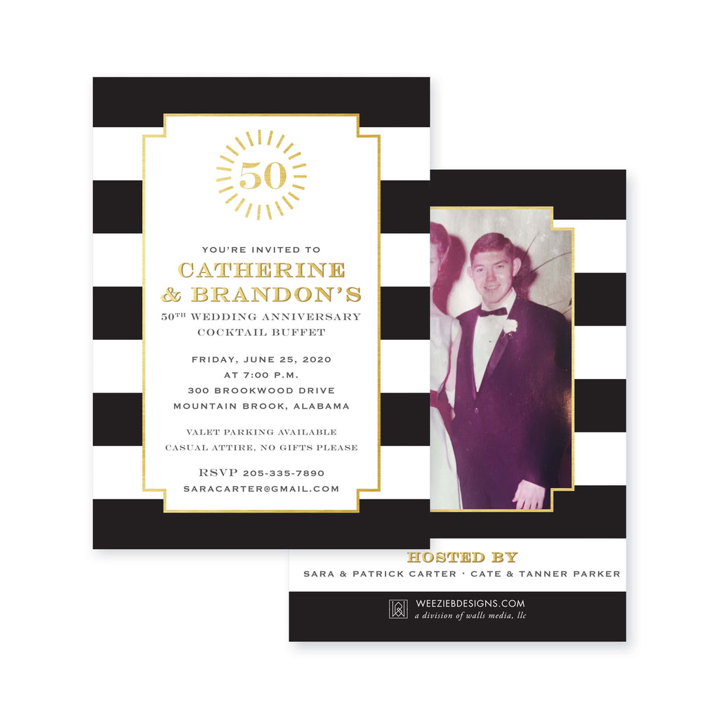 Weezie B. Designs | Classic Black & White Stripe Anniversary or Birthday Party Invitation