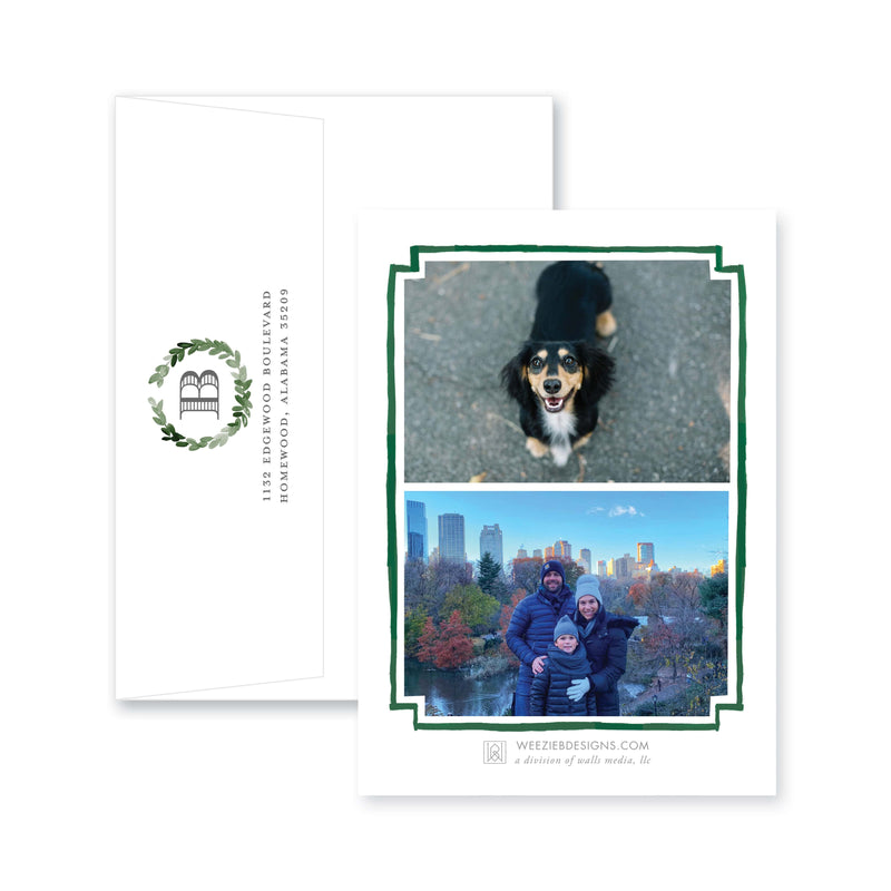 Weezie B. Designs | Christmas Watercolor Wreath in Green Christmas Card