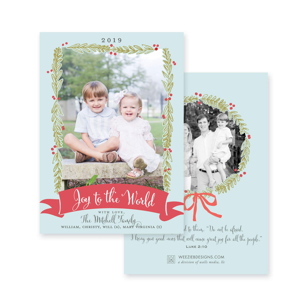 Weezie B. Designs | Blue Christmas with Wreath Christmas Card