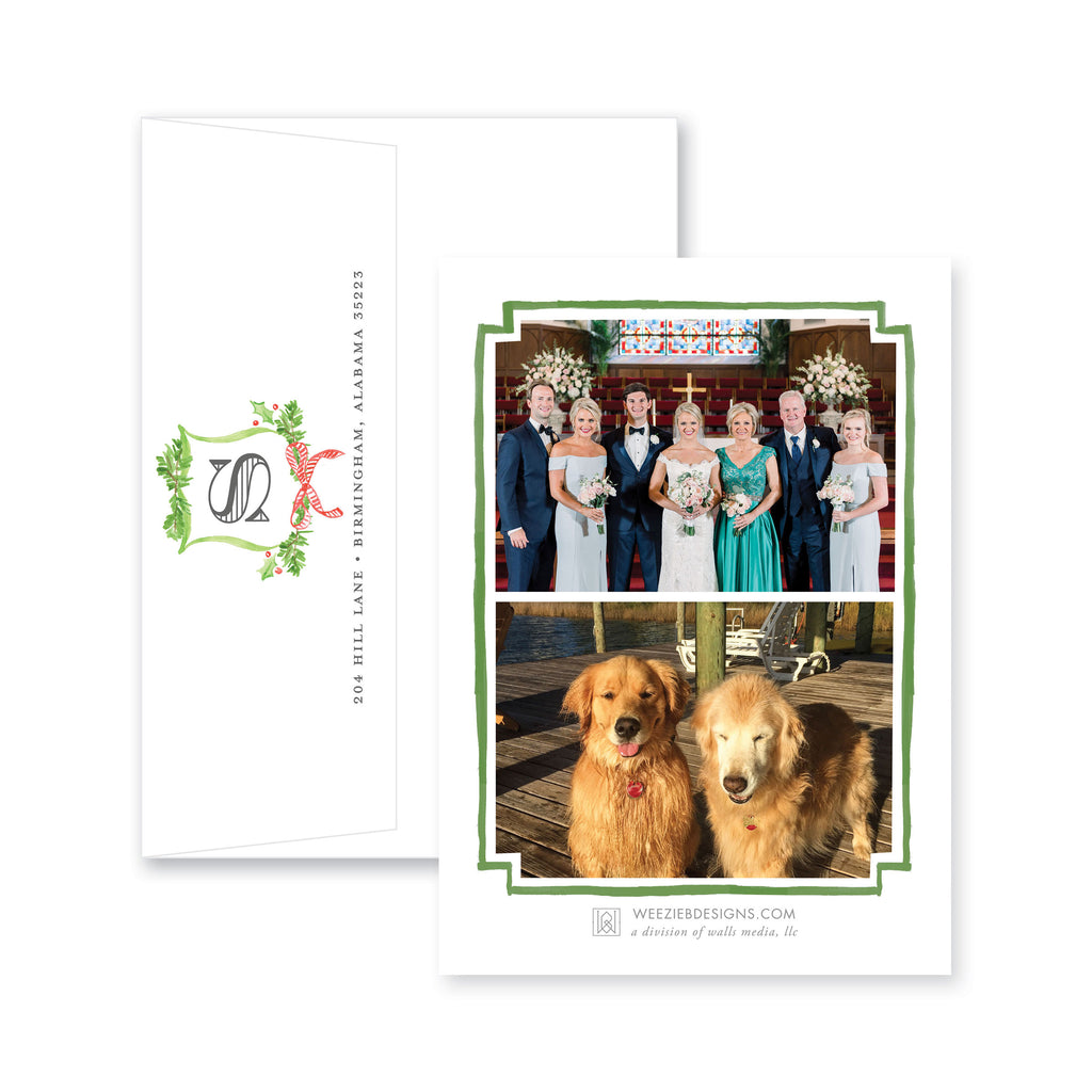 Weezie B. Designs | Christmas Watercolor Crest Christmas Card