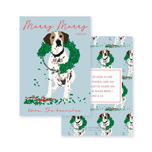 Illustrated Dog Chewing Wreath