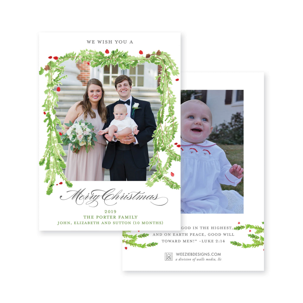 Weezie B. Designs | Watercolor Evergreen Garland
