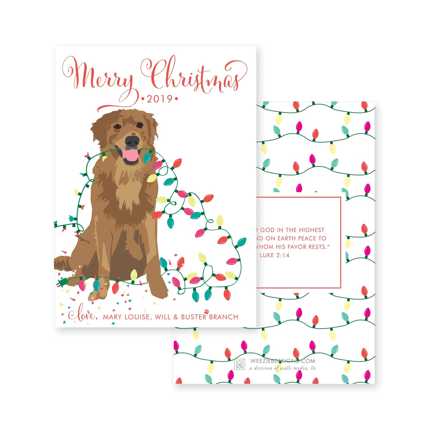 Weezie B. Designs | Illustrated Dog with Christmas Lights Christmas Card