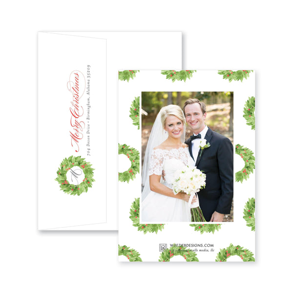 Watercolor Magnolia Wreath Christmas Card