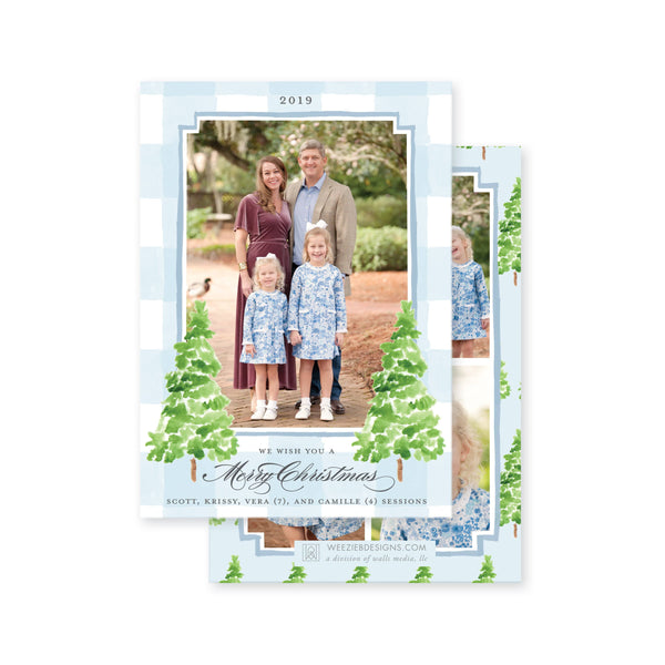 Weezie B. Designs | Watercolor Gingham with Evergreen Trees Christmas Card