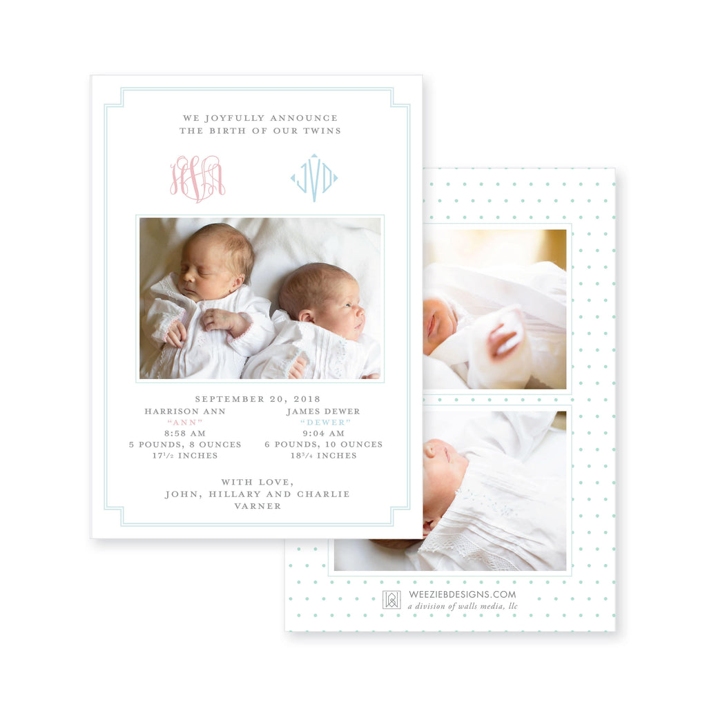 Weezie B. Designs |  Twin Classic Monogram Birth Announcement