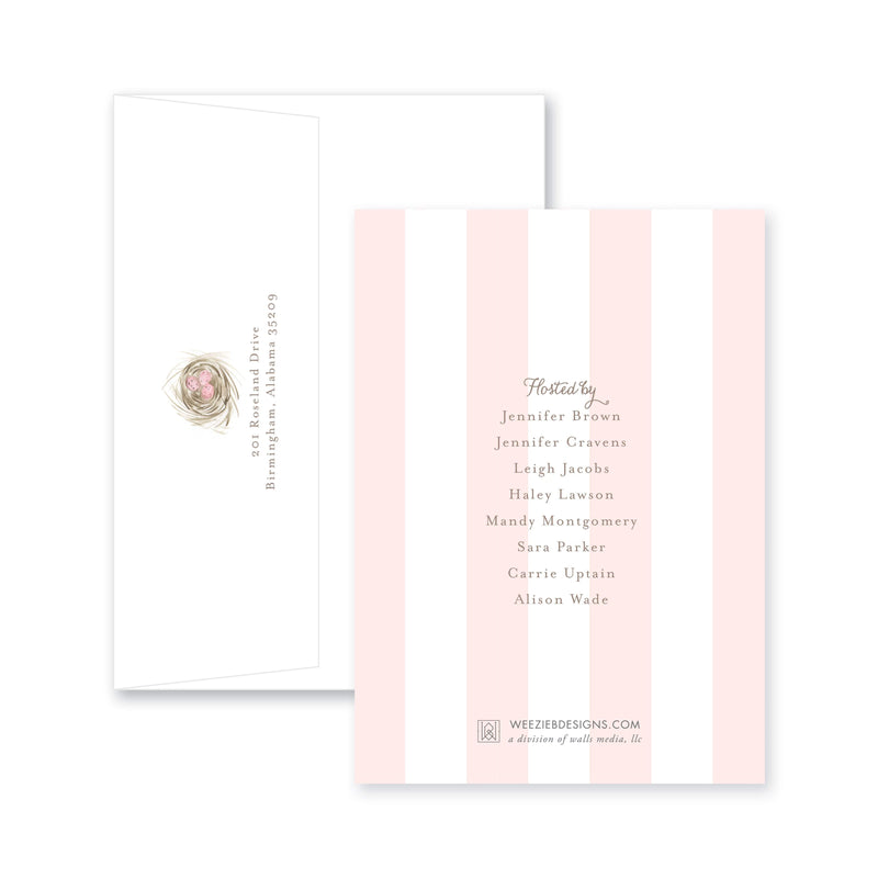 Weezie B. Designs | Watercolor Eggs In A Nest Baby Shower Invitation