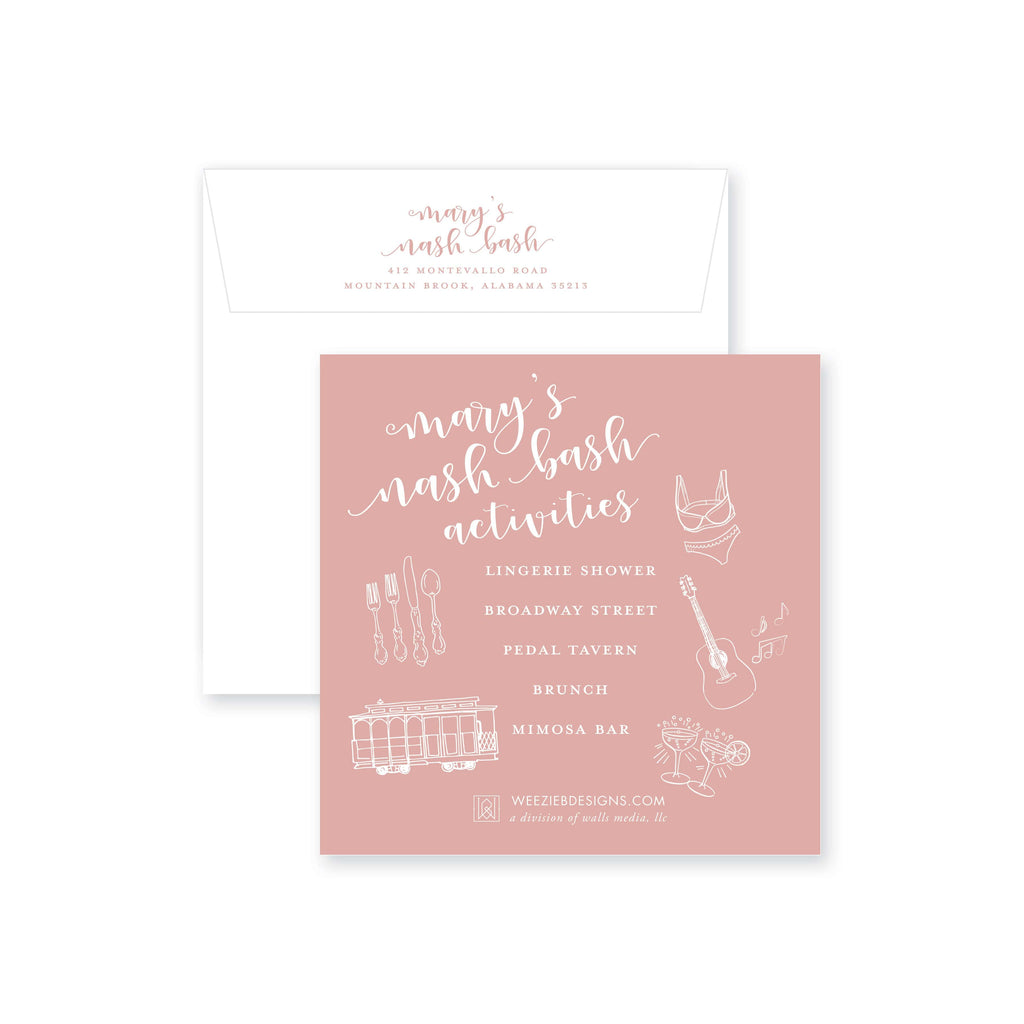 Weezie B. Designs | Bachelorette Invitation | Blushing Bach Bash