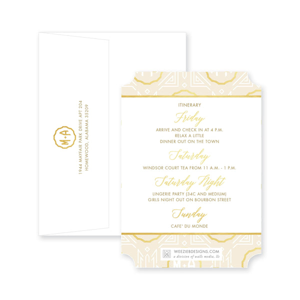 Weezie B. Designs | Bachelorette Invitation | Gatsby In Ivory & Gold