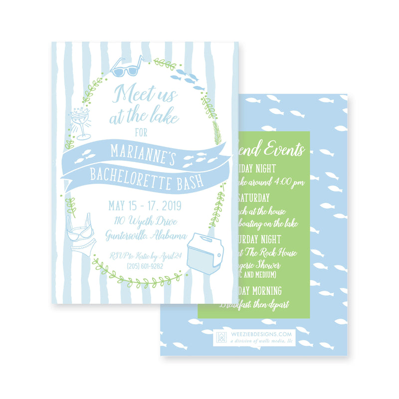 Weezie B. Designs | Watercolor Stripes with Laurel Icons Bachelorette Invitation