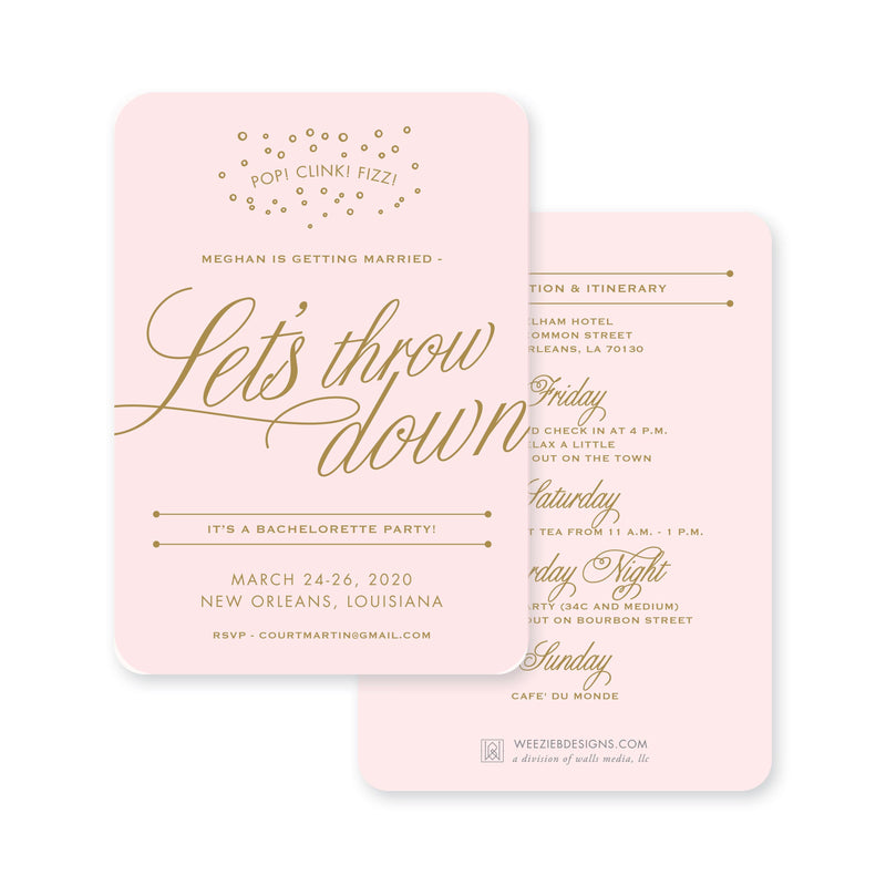Weezie B. Designs | Bachelorette Invitation | Let's Throw Down