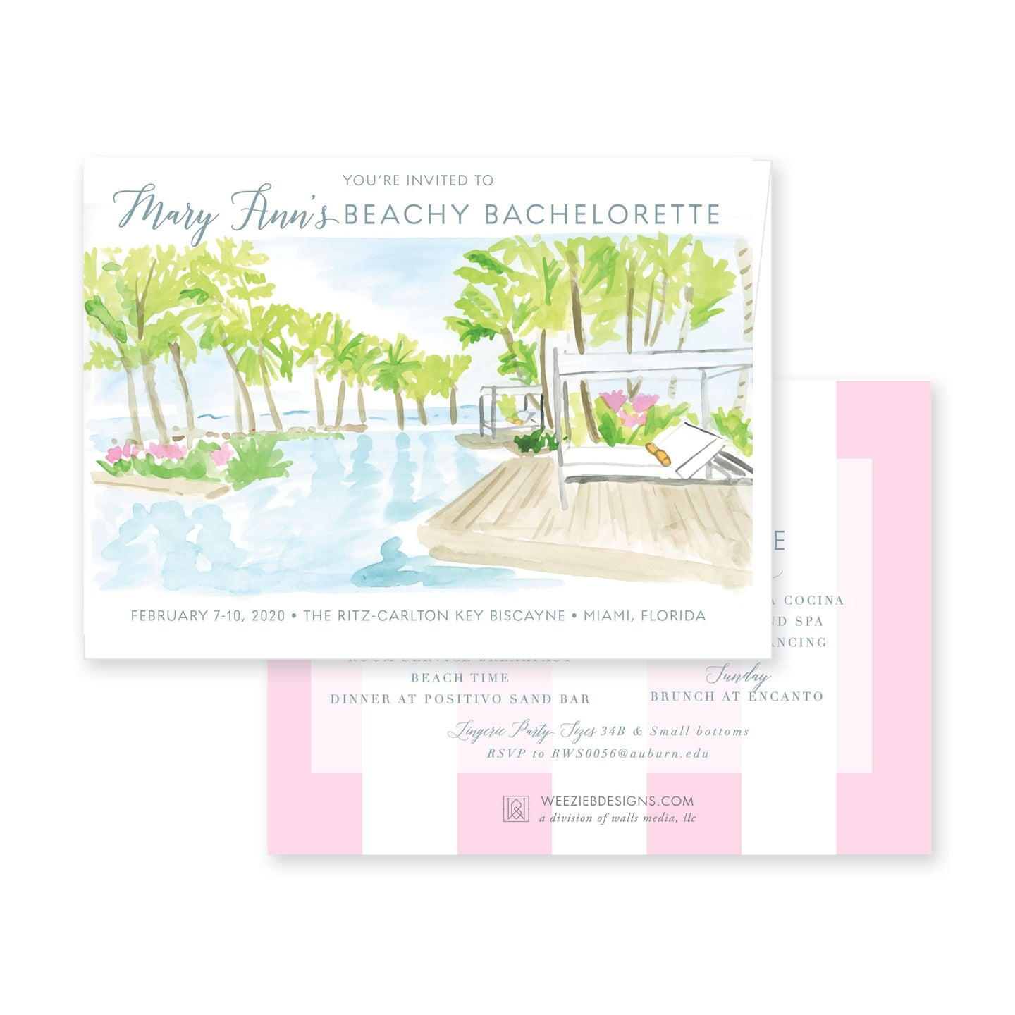 Weezie B. Designs | Bachelorette Invitation | South Beachy Bach